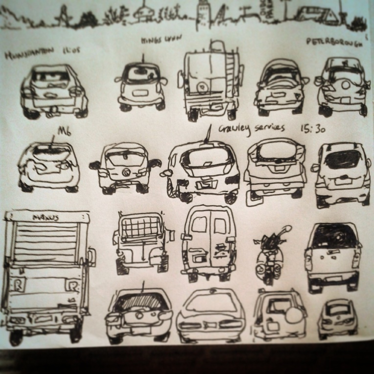 71/365 Back-ends of various vehicles drawn during mildly epic road trip (when stationary and when it was safe to do so, obv) from Hunstanton through Peterborough, A47, M6, M5 etc. 7 hours journey time in total. See images of both #east and #west seas (taken on same day) earlier in this feed. V-ball. Notebook: Ethel. https://instagram.com/p/tGGy09Hy_9/