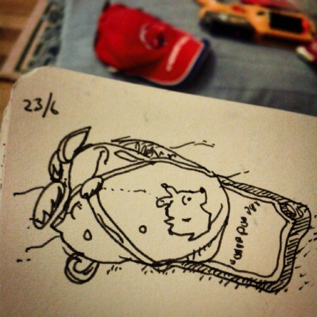 16/365. Drawing of hat. V-5 Hightechpoint on paper. Notebook: Zebulon. This is a hat my father gave my son. It's from the Czech Ice Hockey team the HC Berounští Bears, but most of the badges on it relate to speedway. https://instagram.com/p/pmxZa_ny6O/