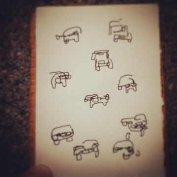 18/365. Cars on Severn Bridge drawn blind whilst being driven back from extraordinary theatre experience in Monmouthshire. Straight to V-ball on paper. Notebook: Leonidas. https://instagram.com/p/psuKQRny4G/