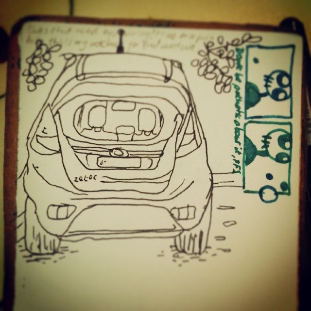 2/365. Drawn straight to ink in homemade pocket book (message me for instructions) whilst waiting in car park for delivery of supplies for twin 10 year birthday Sunday afternoon pizza blow out. Two panel doodle comic comes free of charge. http://instagram.com/p/o_GhFTnyzM/