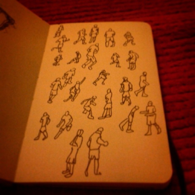"20/365. ""...and the goal keeper's got football pie all down his shirt."" Drawn off of the telly at various stages of #Brazil2014. V-ball. Notebook: Zebulon. https://instagram.com/p/p2MOC5ny-R/"