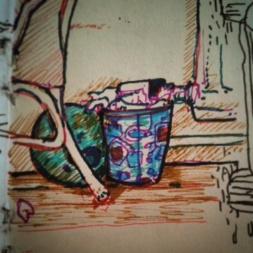 35/365. The space between the fire place and the TV. Drawn during #BRA v #NED because it was so BORING! Includes one of the birthday ballons that caused the incident documented in 24/365, yet still lives on to haunt me like a tiny round ghost. Multicoloured Stabilo point 88 and fountain pen. Notebook: Zebulon. https://instagram.com/p/qZH51yny_d/