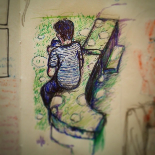 5/#365 Random dude eating chop suey(?) on the wall outside. Coloured ballpoint whilst waiting for fluid cache and landsat download. http://instagram.com/p/pGqoMmHy9m/