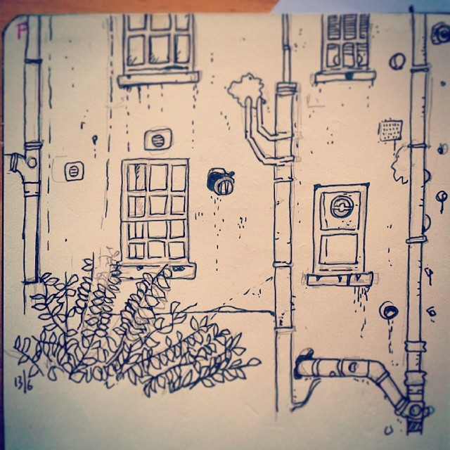 7/365. Windows and soil pipes. Pilot Vball on paper. Looking out window whilst upgrading PC render node and listening to Mex v Cam. http://instagram.com/p/pMXhDVny8r/