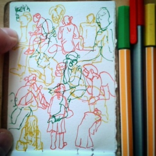 25/365. Various lunch time folk on the green outside. Completely unawares I am misrepresenting them so wantonly and with such poor skill. Hahahahaaa. Stabilo point 88 and Staedtler triplus fineliner on cartridge. Notebook: Leonidas. https://instagram.com/p/p_X4RpHy9I/