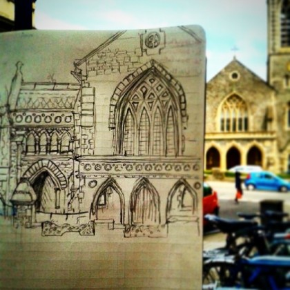 19/365.Tyndale Baptist Church.Pencil on paper.Struggling on with what I started on 10/365, still a way to go. That neo-gothic religious architecture thing is a real number.Notebook: Ethel.https://instagram.com/p/ptPlGEHyy3/