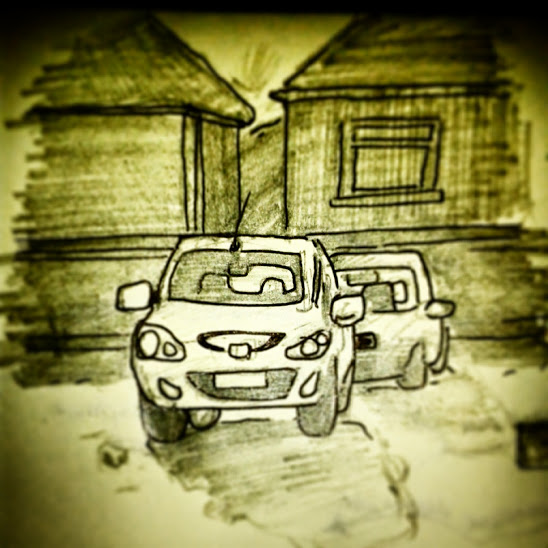 78/365 Cars, looking into the morning sun drawn yesterday morning waiting for Halfords to open after blowing a headlamp bulb. Yesterday was all about wheels turning, big new project beginning, new boiler actually working, technology happening. Pencil and V-ball. Notebook: Ethel https://instagram.com/p/yeGus4ny1F/