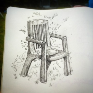 82/365 Ye olde plastic garden chair. A small window of seasonally appropriate weather hits the UK. Everyone panics. But then a cold breeze resumes so. Pencil. Notebook: Ethel. https://instagram.com/p/3B3z3_ny2r/