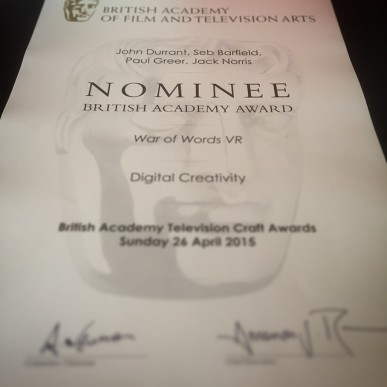 Sorry, I couldn't hear you over the noise of this BAFTA nomination certificate. https://instagram.com/p/2tKYegHy_J/
