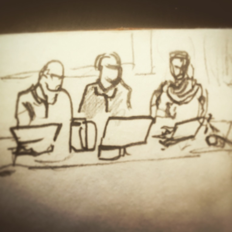 88/365  Throwback to last Thursday's #BDHunzipped event.   That's Steve, John and Rob (the B, the D and the H respectively) on stage there, being asked questions about their twenty years since founding the company.  I meant to do a series but I forgot my glasses so I basically drew this blind, then got lost in the endless spiral of a Rob's scarf.  Pencil.  Notebook: Artemis