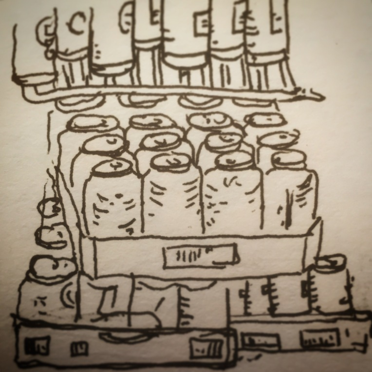 89/365  Another catch up. Very fast doodle of the insides of the fridge at my beloved local chip shop. Filled with a variety of sugary enticing nastiness.  Drawn at speed.  V-ball. Notebook: Artemis.