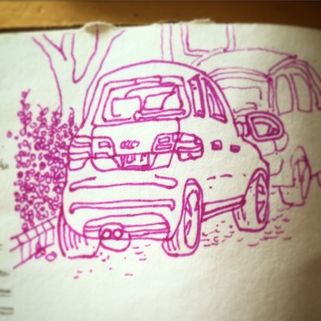 102/365 Lunchtime car drawing. 10 mins Stabilo point 88. Notebook: Artemis.
