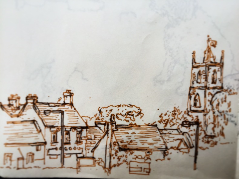 109/365 View across to the Ring o'Bells and the Holy Trinity from the Grove. Another bonus summer weekend, a walk in the park, football, jumpers for goalposts etc etc. Time for the bears to start hibernating soon, no? Two colour Stabilo point 88. 15 mins. Notebook: Ethel