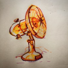 110/365 Desk fan. Dealing will the heat generated by the all heavy heavy brain activity. 15 mins Multicoloured Stabilo. Notebook: Ethel
