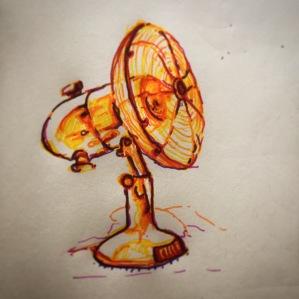 110/365 Desk fan. Dealing will the heat generated by the all heavy heavy brain activity. 15 mins Multicoloured Stabilo. Notebook: Ethel
