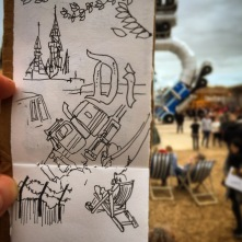 113/365 Dismaland doodling. Quite good there, it is. Very lucky to get tickets, thanks S. Anniversary treat. A reminder of life before parenthood. Uniball. Notebook: Artemis.