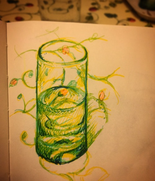 112/365 Half full glass on patterned table cloth. Multi-coloured Stabilo. 16 mins Notebook: Ethel.