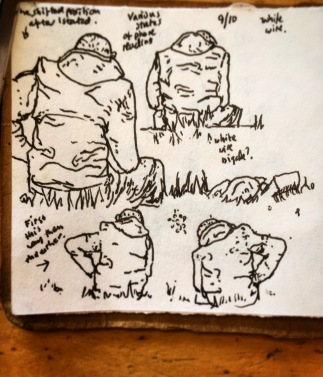 118/365 Lunchtime sequential drawing of a random member of the white wire brigade enjoying the Indian Summer in various states of smart phone reading. Uniball 10 mins Notebook: Artemis (homemade)