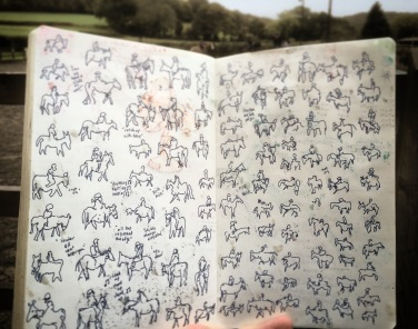 119/365Horses and riders at this weekend's lesson. Drawn without looking (no glasses). Tried to pick up the pace on the second page. Will try and Vine these as an animation when I get the chance. 45 mins Blue Stabilo point 88. Notebook: Ethel