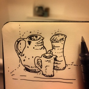 127/365 Fairly rapid rendition of handmade jug still life. Time is limited. 5 mins Uni-ball eye micro Notebook: Myrtle