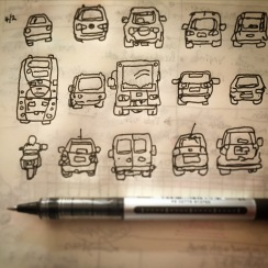 130/365 Got a lift into work today, therefore car drawings. Uniball micro Notebook: Myrtle