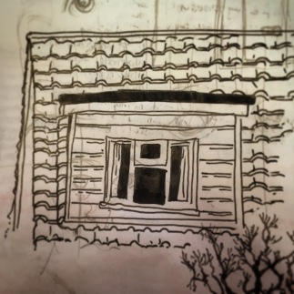 131/365 Dormer window in the new bit of the house. Drawn whilst waiting for previously mentioned lift. Uniball micro. 7 mins Notebook: Myrtle