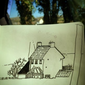 143/365 Farm house on a bright spring day. Don't even need a coat. Straight to uni-ball. 10 mins Notebook: Myrtle