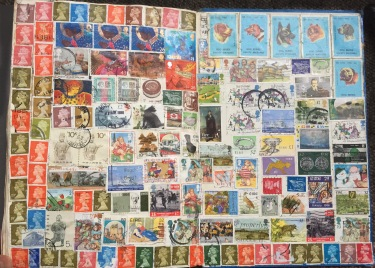 Stamp Montage PVA and assorted use stamps and matchbox covers 1991-1993