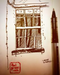 168/365Another window. They're pretty much the only thing I can see from the window where I sit to eat my lunch. 10mins Vball Notebook: Myrtle.