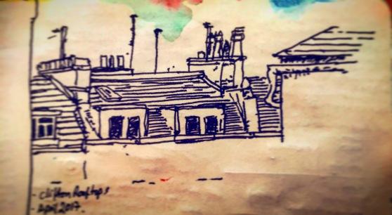 173/365Whiteladies Road Tree. 30 mins Uniball micro Notebook: Ichabod (Process videos uploaded to Instagram Stories)