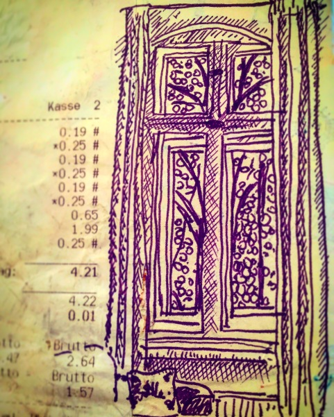 193/365 Another lost drawing from last Spring's trio to Berlin. This is the window of the flat we stayed in in Wilmersdorf with a portion of the receipt from the grocery shop over the road. Notebook: Ichabod Fountain pen and Stabilo.
