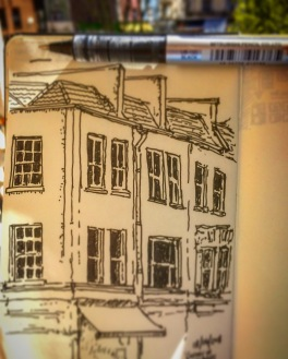 194/365 Corner of West Park and Whiteladies Road from the balcony at BDH with a sandwich in the Sun. 🌞 ✏️ 📓 🥪 Uniball micro. 20 mins Notebook: Beto