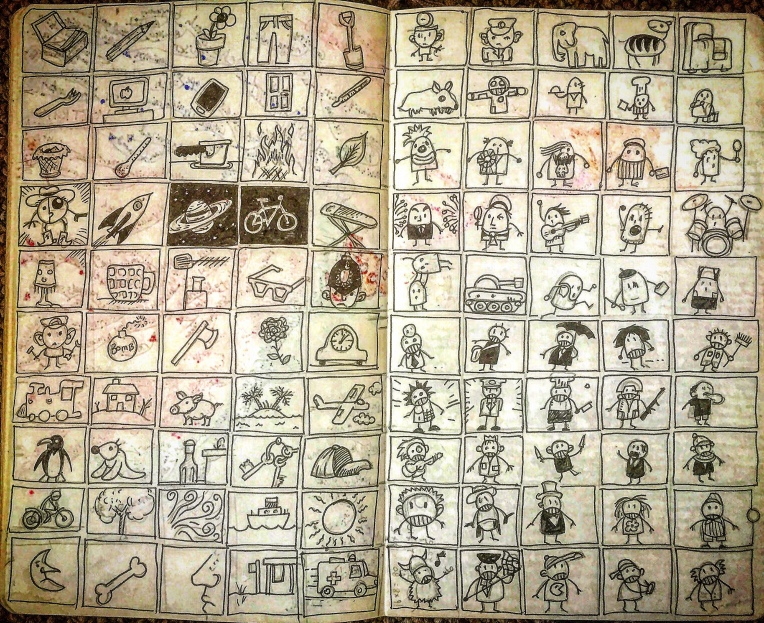 "Notebook Ethel, Spread Twenty-Five. Another Ivan Brunetti exercise from ""Cartooning: philosophy and practice"": ""Pencil out a grid in your notebook, enough to contain 100 small drawings.now spending no more than 5 seconds per drawing, let your stream of consciousness guide you, drawing whatever comes to mind (don't stop to think about it)."" I went back and inked them after. 📓✍️🖼"