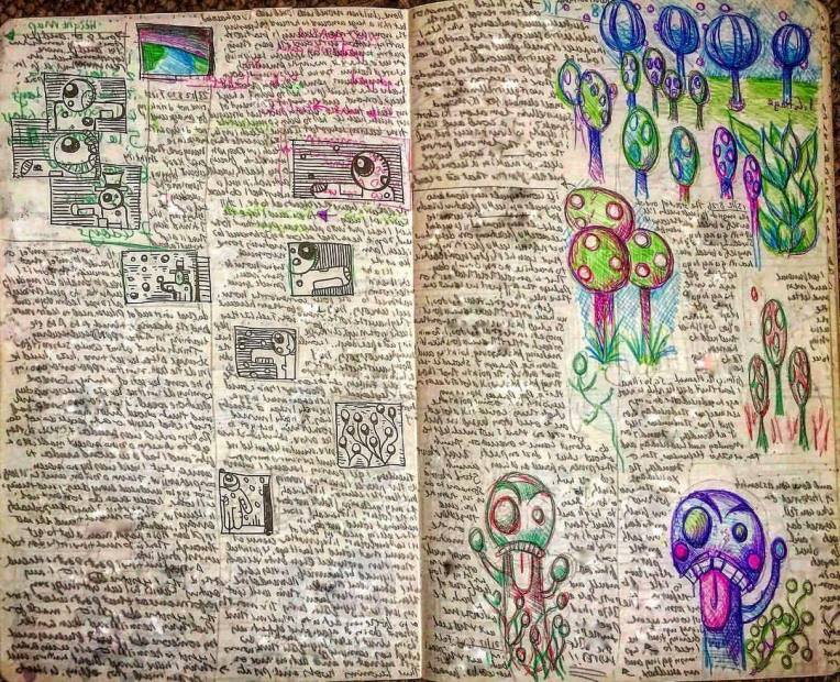 Notebook Ethel, Spread Twenty. Morning Pages writing exercise and drawing my comic book character Fudge (see more of him at #linkinbio). 🌳 👹 ✍️