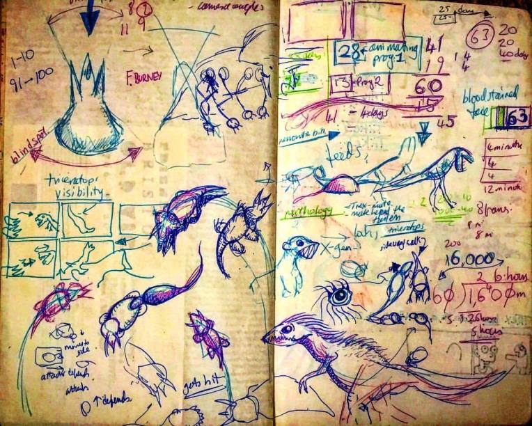 "Notebook Ethel, Spread Thirty-Two. Early dinosaur choreography for what was to become ""Dino Death Match"", full CG prehistoric animal project. 🦖 💃 📓"
