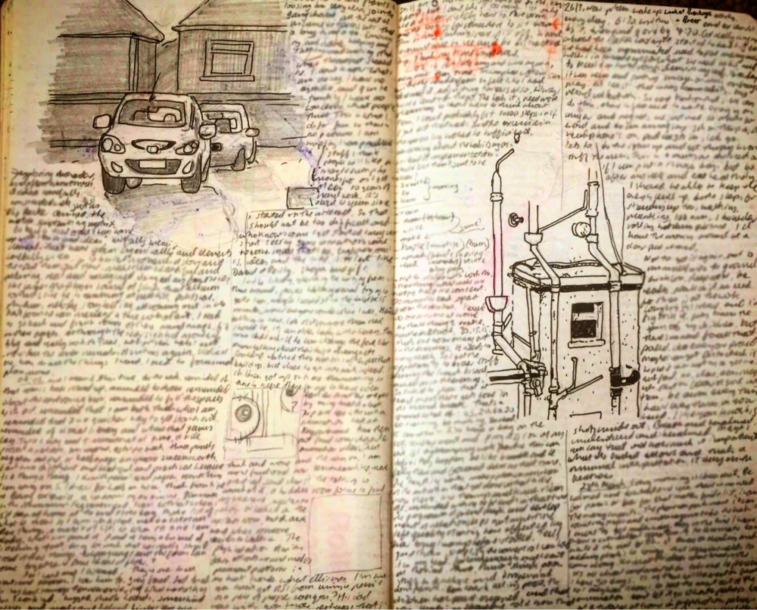 Notebook Ethel, Spread twenty-nine. Garbage writing, cars in car parks and the view from the rear window at South Parade. 🚗 ✍️ 📓