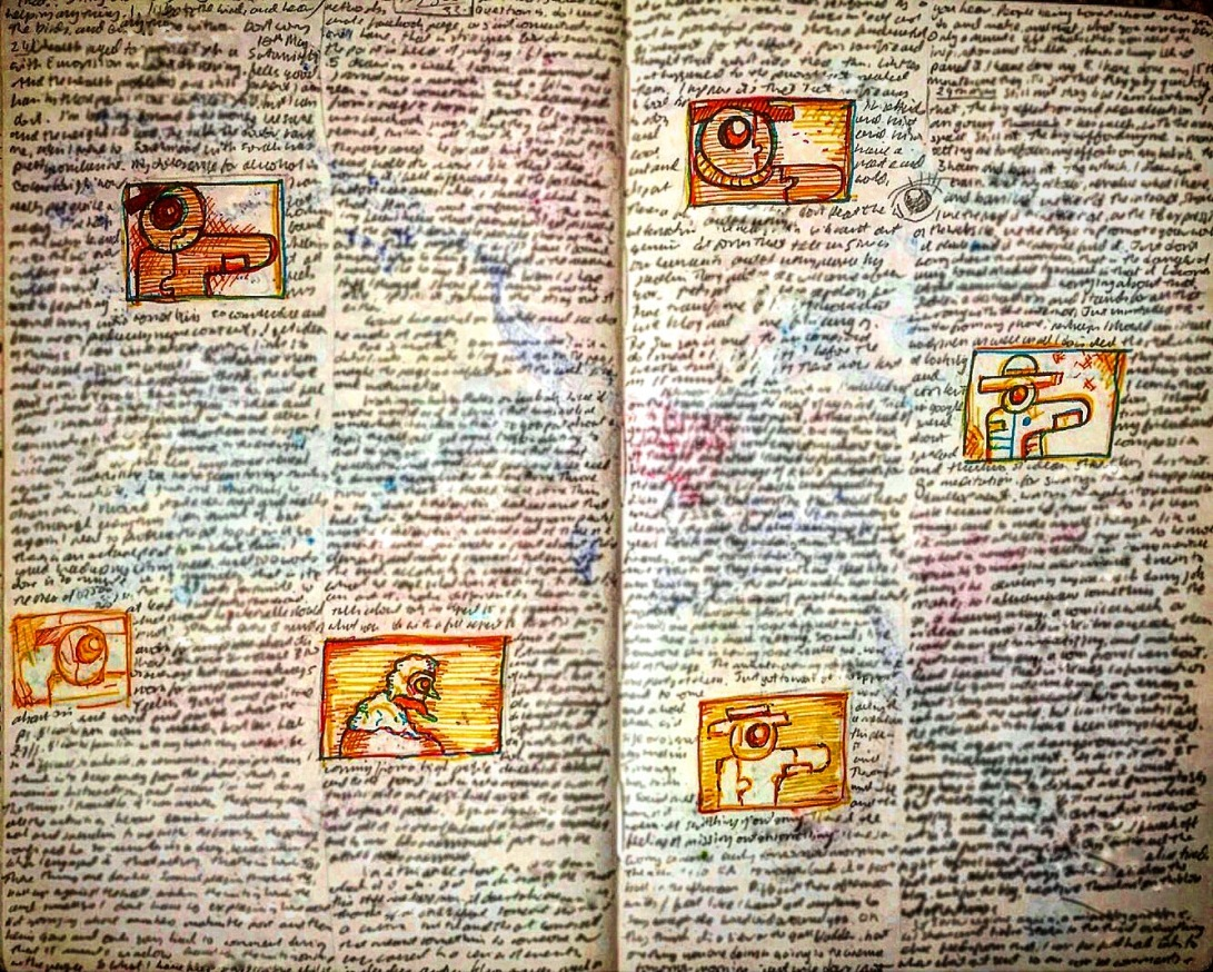 Notebook Ethel, Spread Thirty. Garbage writing, unfinished Fudge story with thumb nail illustrations. ✍️🖼💀
